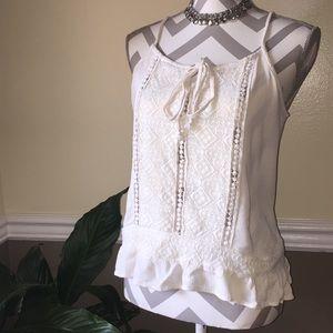 White lace boho tank top